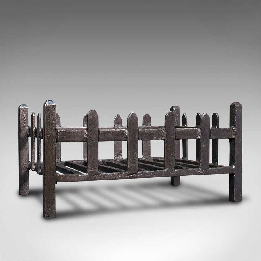 Antique Fire Basket, English, Cast Iron, Fireside, Grate, Late Victorian, C.1900
