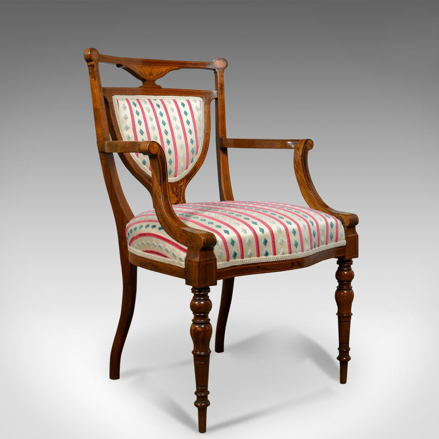 Antique  Elbow Chair, Rosewood, English Open Armchair, Maple & Co. Circa 1910