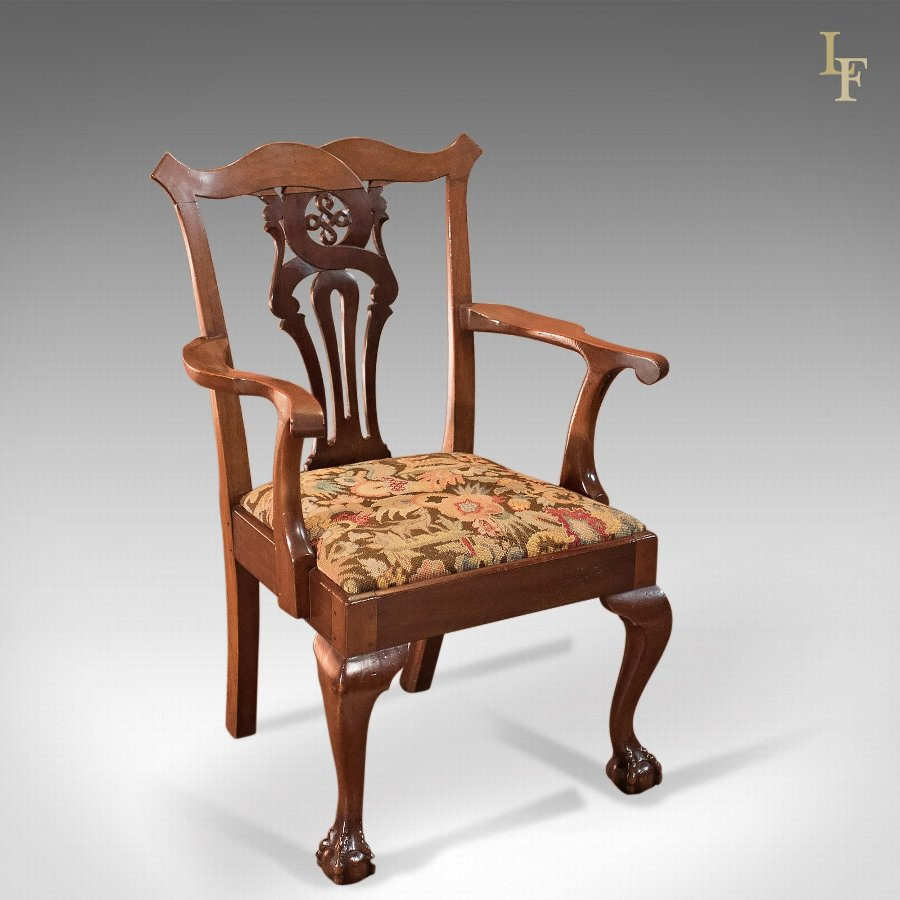 Antique Armchair, Victorian Chippendale Revival c.1880
