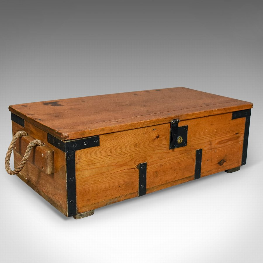 Antique Boat Builders Chest, English, Victorian, Pitch Pine, Trunk, Circa 1900
