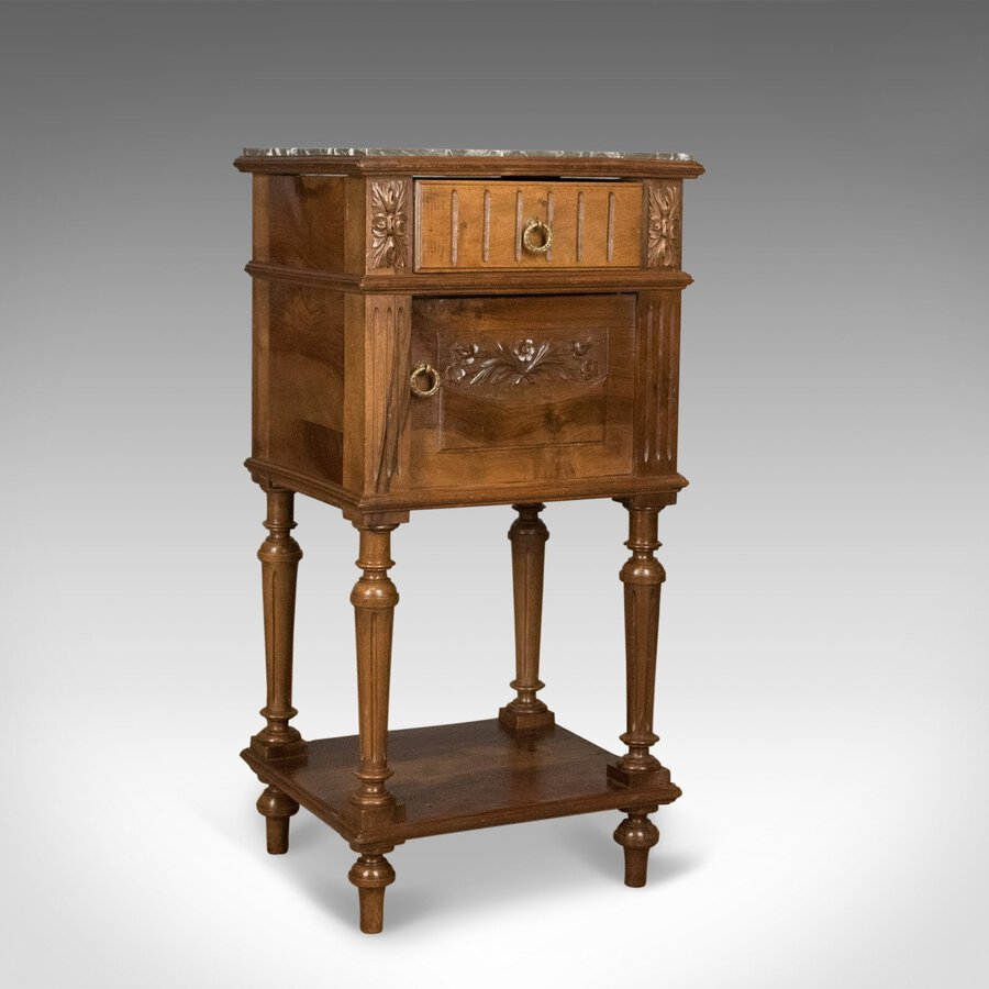 Antique Bedside Cabinet, Victorian Marble Top Pot Cupboard, Walnut Circa 1900