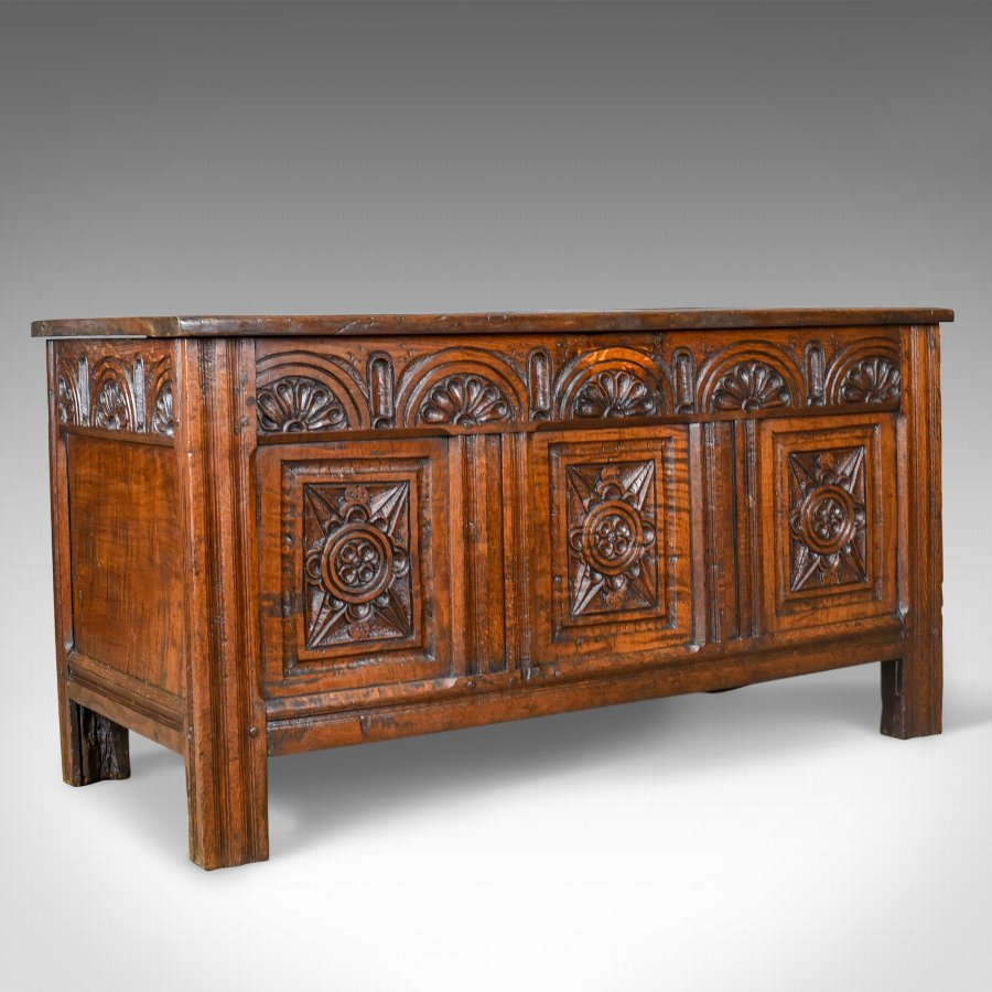 Antique Coffer, English Oak Joined Chest, William III, Queen Anne, Circa 1700