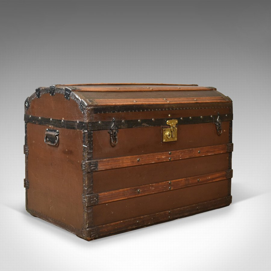 Antique Carriage Chest, Victorian, Dome Topped Trunk, 19th Century Circa 1890