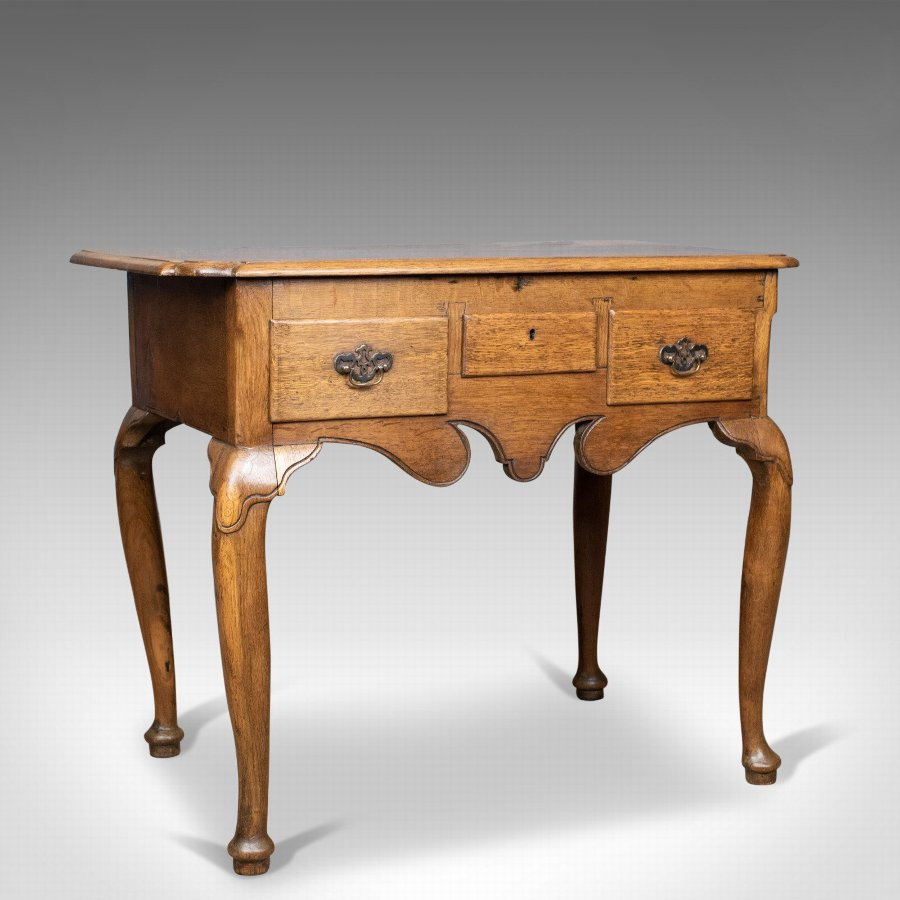 Antique Lowboy, English, Late Victorian, Oak Table, Circa 1900