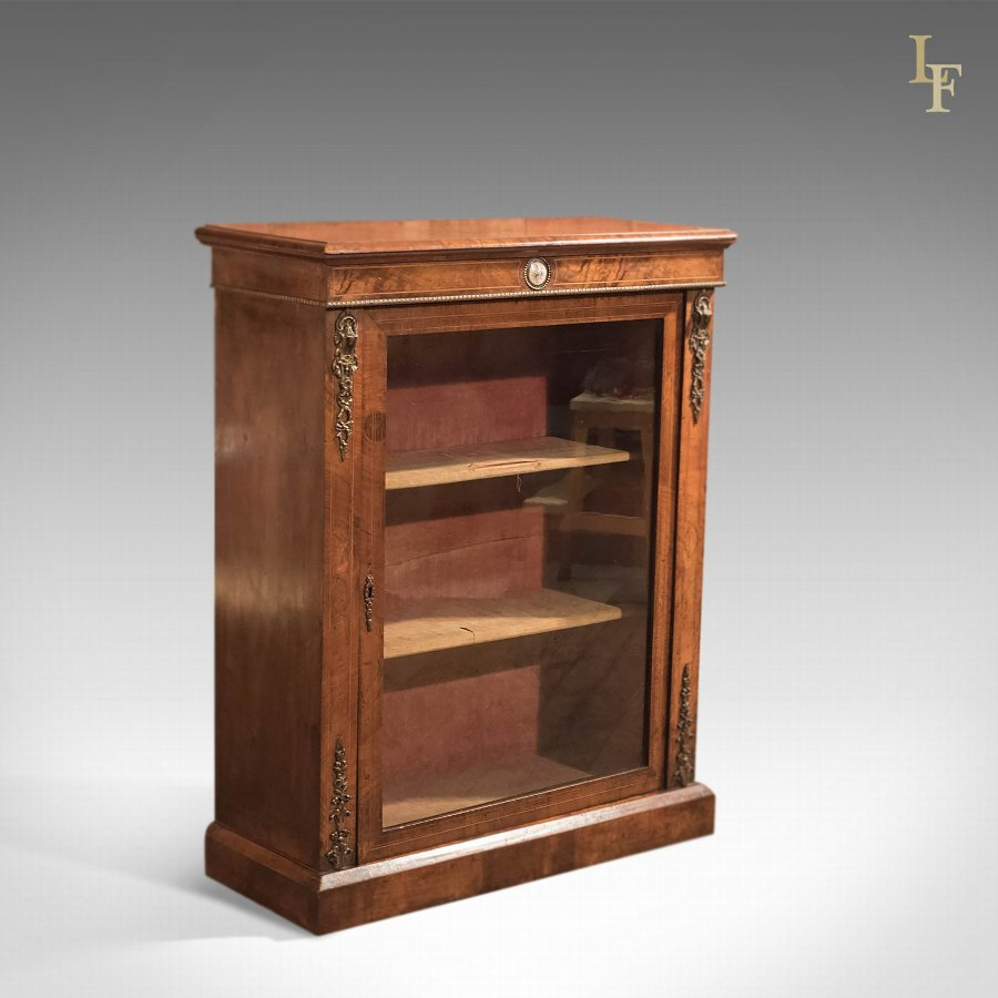 Antique Pier Cabinet, French Walnut c1880