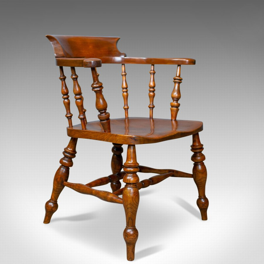 Antique Elbow Chair, Victorian, Elm, Bow-Back, Smokers, Captains, Desk c.1880