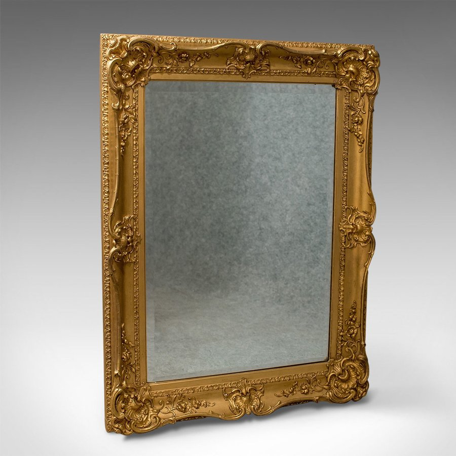 Antique Wall Mirror, English, Victorian, Classical Revival, Gilt Gesso, c.1870