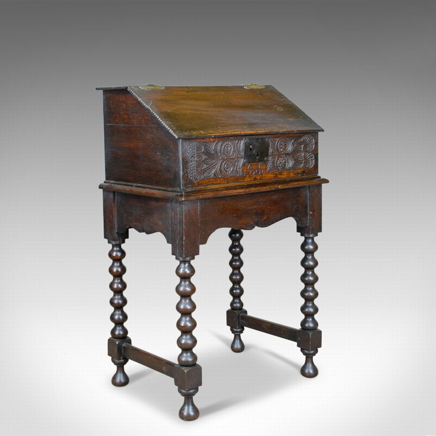 Antique Bible Box on Stand, William & Mary, Oak, Writing, Circa 1690 and Later