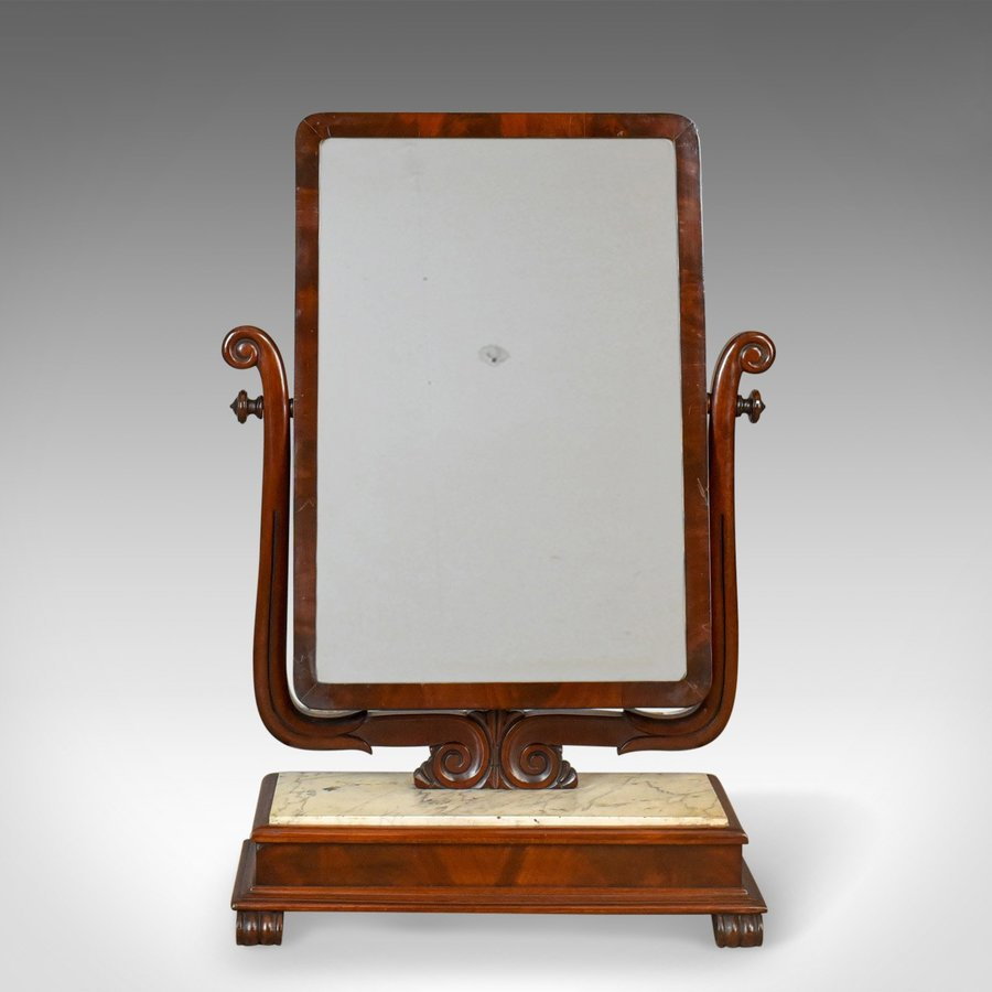 Antique Large Antique Vanity Mirror, Toilet, Swing, English, Victorian Marble Circa 1850