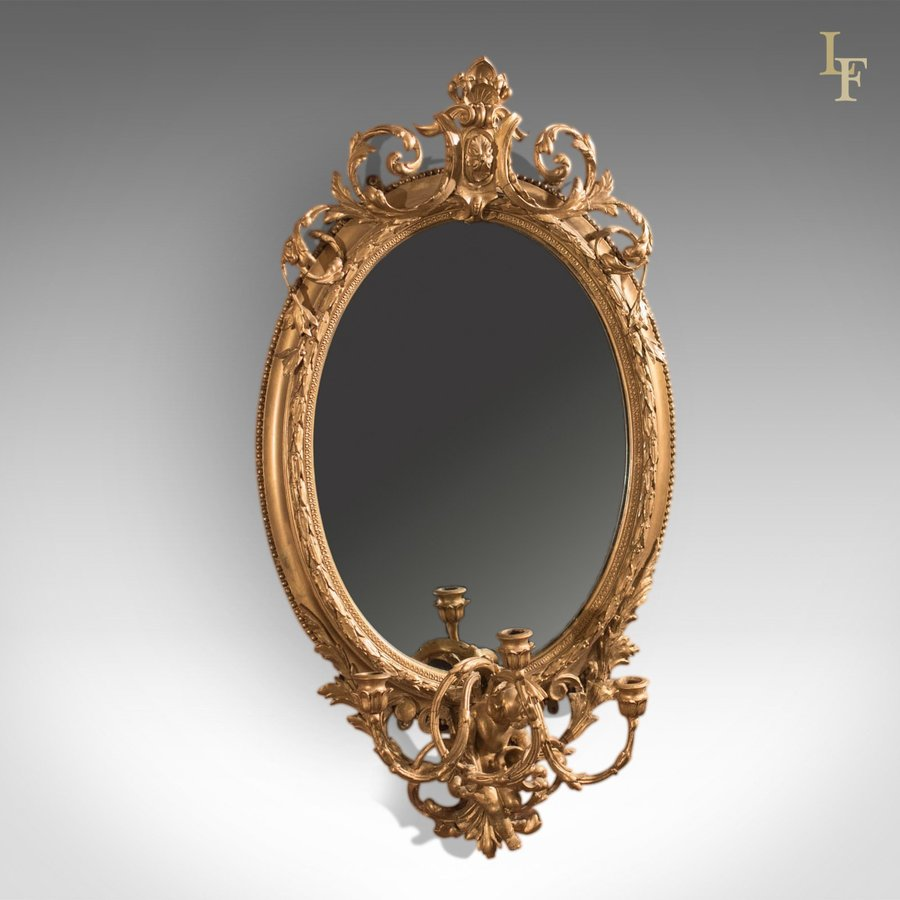 Antique Girandole Gilt Gesso Mirror, c.1800