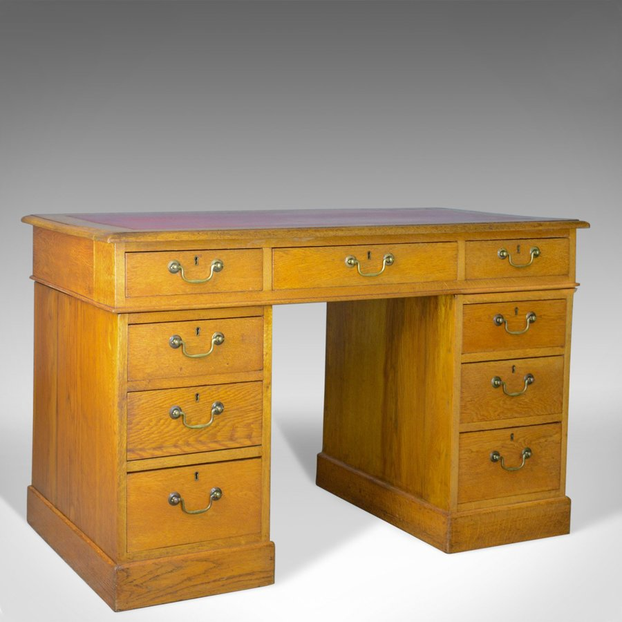 Antique Pedestal Desk, English, Victorian, Golden Oak, Single, Leather, c.1890