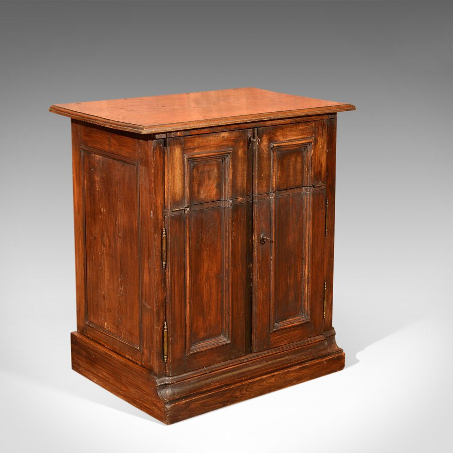 Antique Specimen Cabinet, French Oak Cupboard, Secretaire, Desk Circa 1850