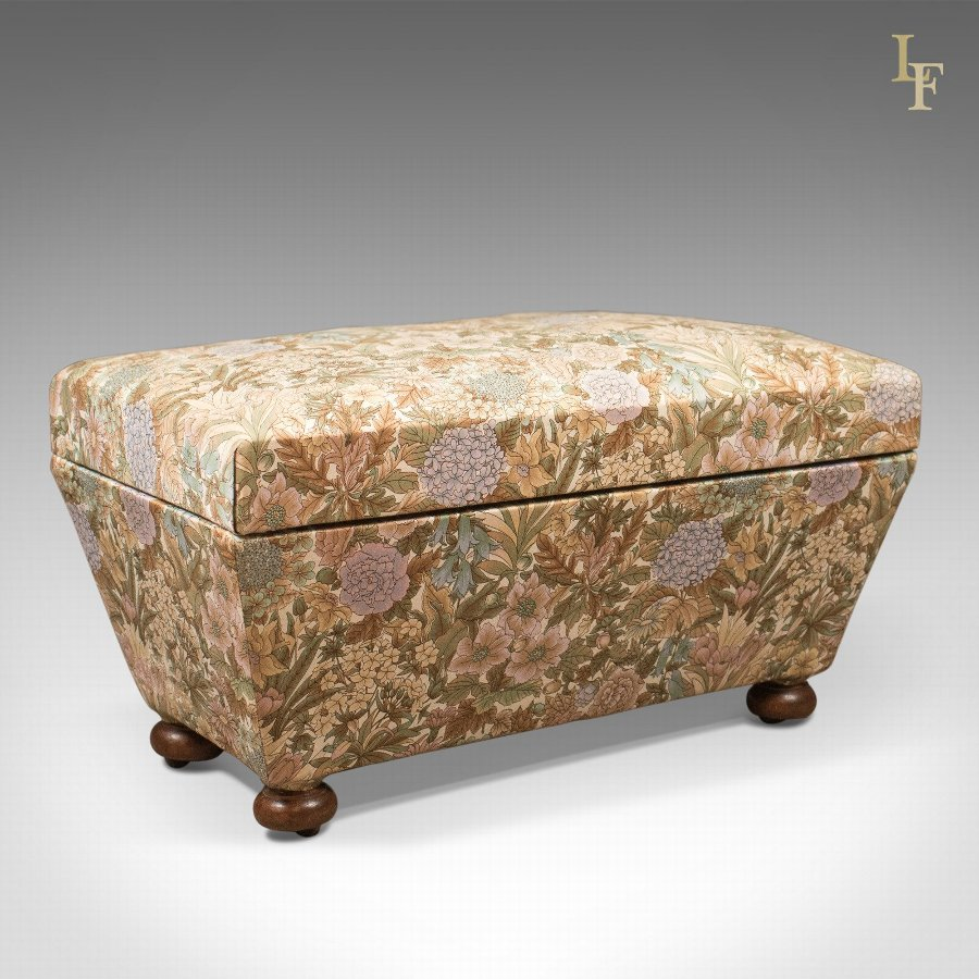 Antique Ottoman, Victorian Upholstered Chest c.1870