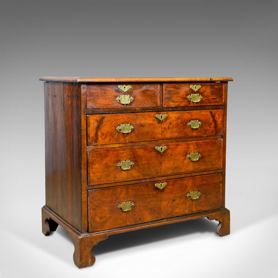 Antique Georgian Chest of Drawers, English, Walnut, 18th Century, Circa 1750