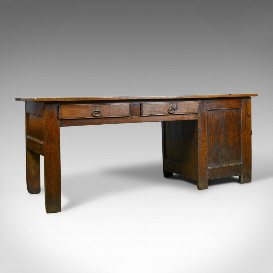 Antique French Mayoral Clerk's Desk, Oak, Elm, Mid 19th Century, Circa 1850