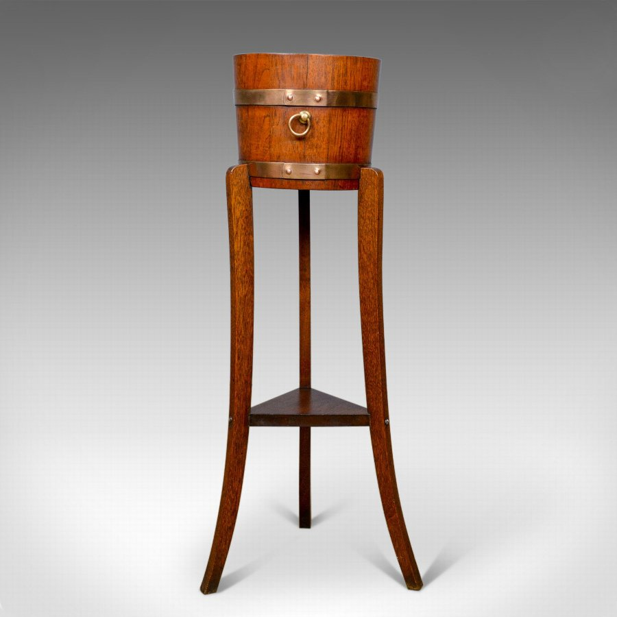Antique Jardiniere, Arts and Crafts, Coopered Barrel on Stand, Lister, c.1900