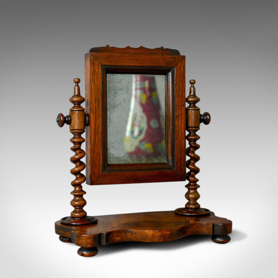 Small Antique Platform Mirror, English, Rosewood, Dressing Table, Toilet, c.1850