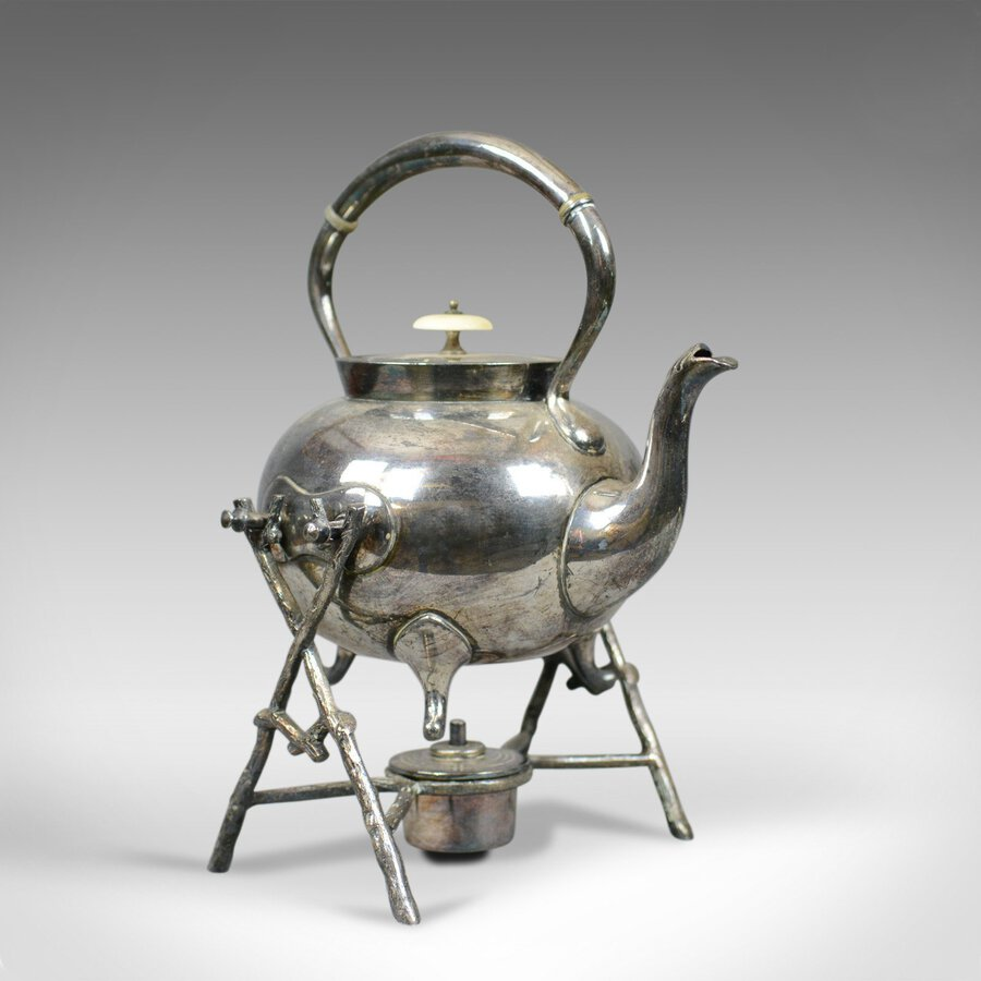 Antique Spirit Kettle on Stand, Decorative, Silver Plated, Tea Pot Early C20th
