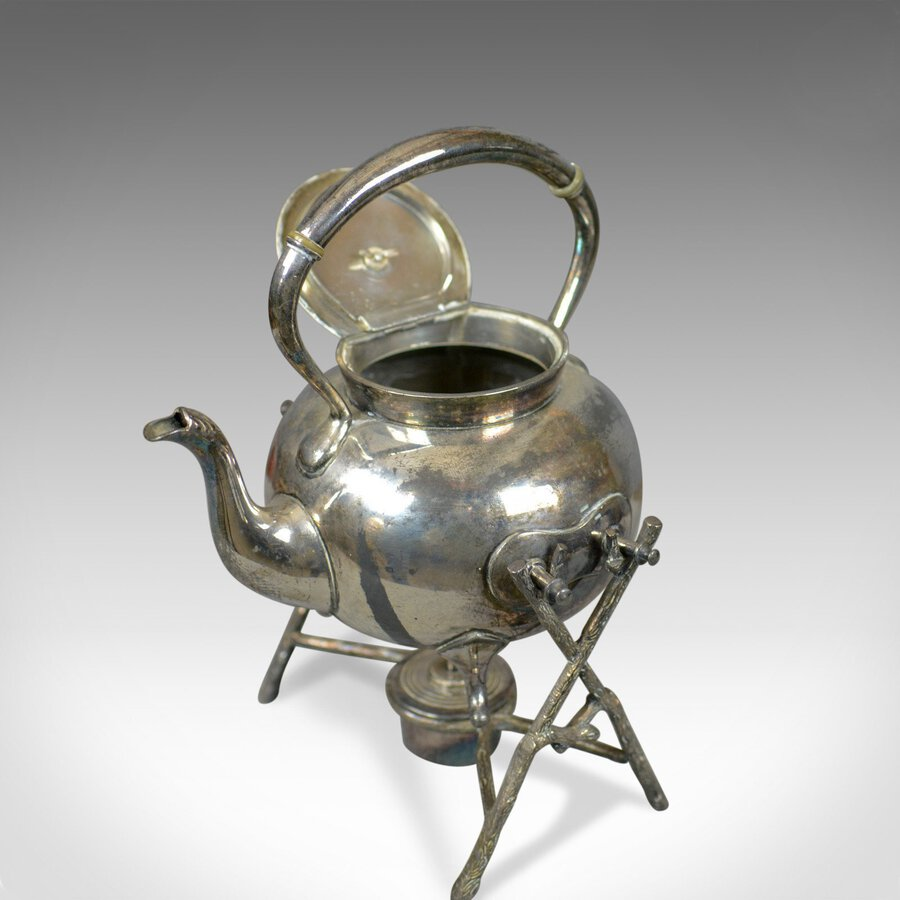 Antique Antique Spirit Kettle on Stand, Decorative, Silver Plated, Tea Pot Early C20th