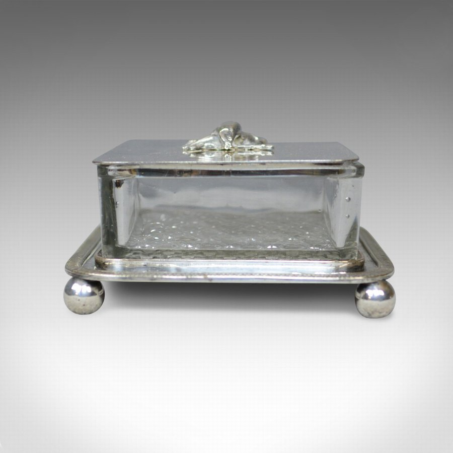 Antique Antique Caviar Dish, English, Crystal Glass, Silver Plated, Thomas Prime, c.1880