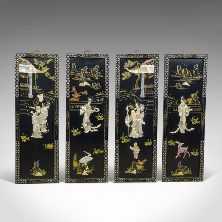 Set of Four Chinese Wall Panels, Decorative, Mother of Pearl, Soapstone C20th