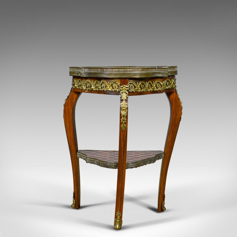 Antique French, Antique, Side Table, Two Tier, Birch, Ormolu, Marble Top, circa 1900