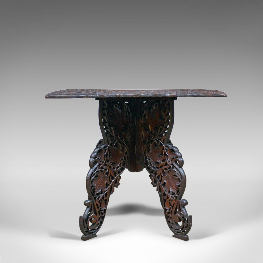 Antique Anglo-Indian Antique Campaign Table, Carved, Teak, Side, Circa 1900