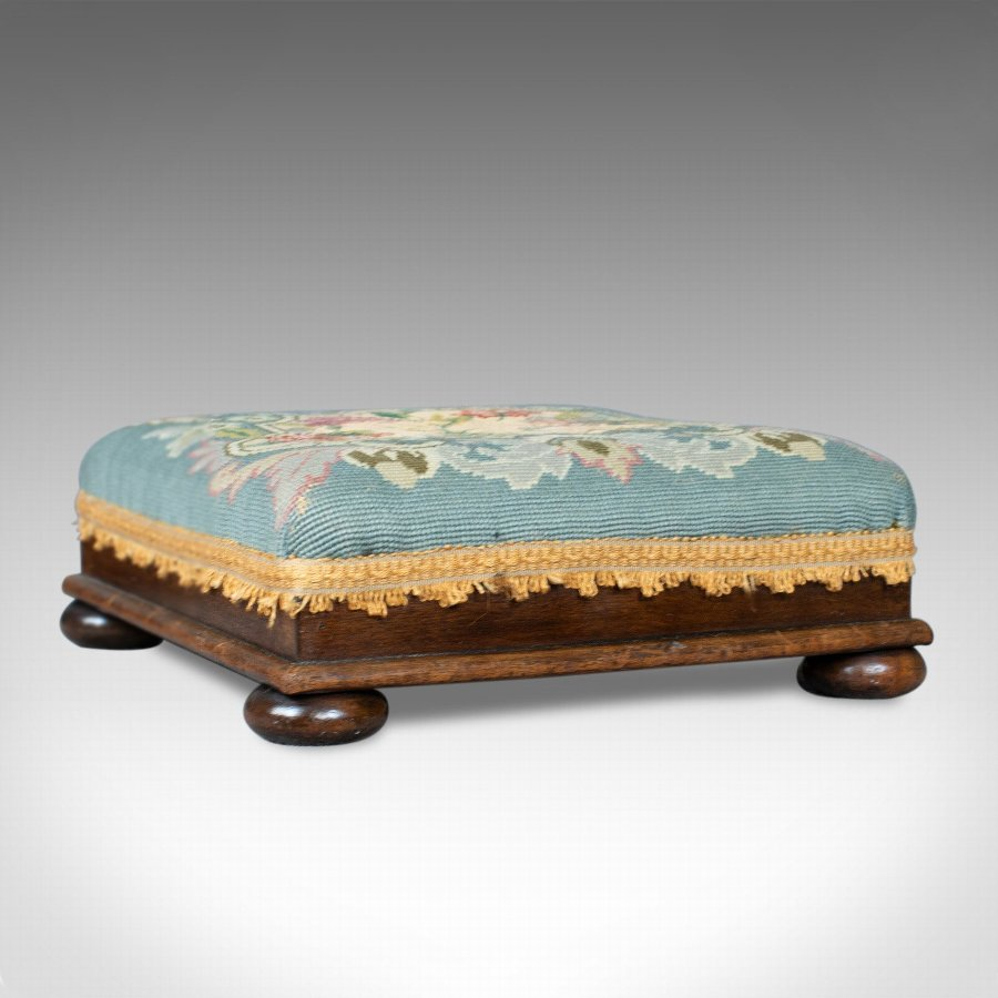 Square Antique Footstool, English, Victorian, Needlepoint, Carriage, C19th c1890