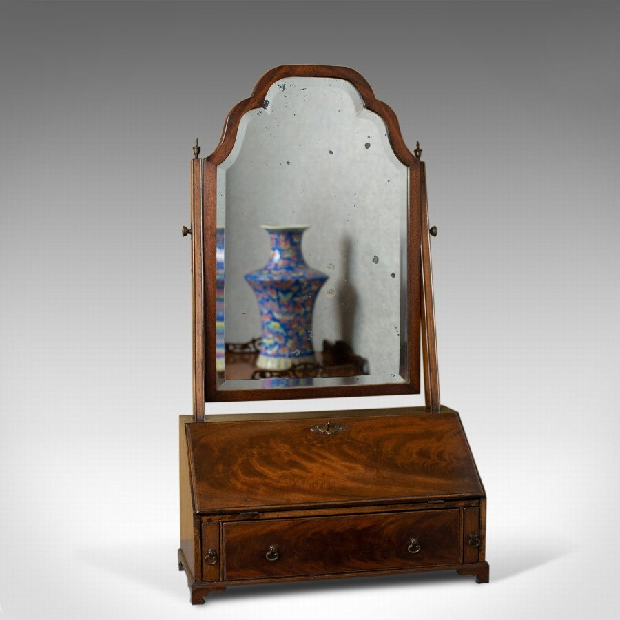 Antique Bureau Mirror, English, Georgian Revival, Mahogany, Toilet Circa 1910