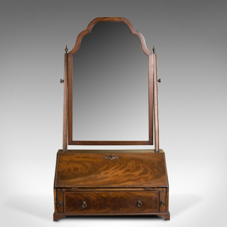 Antique Antique Bureau Mirror, English, Georgian Revival, Mahogany, Toilet Circa 1910