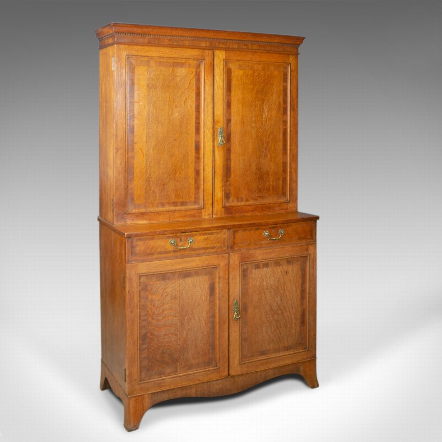 Antique Estate Cabinet, English, Victorian, Oak, Press Cupboard, Circa 1890