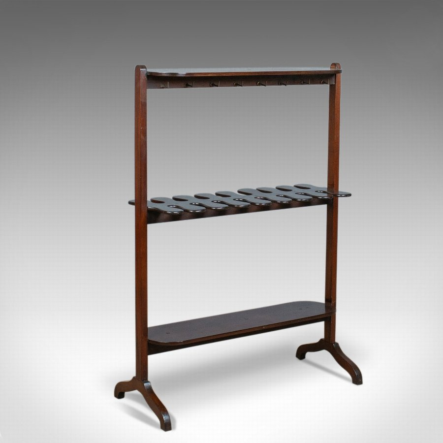 Antique Boot Rack, English, Edwardian, Riding, Crop, Stand, Mahogany, Circa 1910