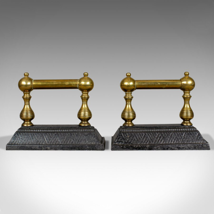 Antique Antique Fireside Tool Rests, Victorian, Brass, Iron, Classical Revival, c.1890