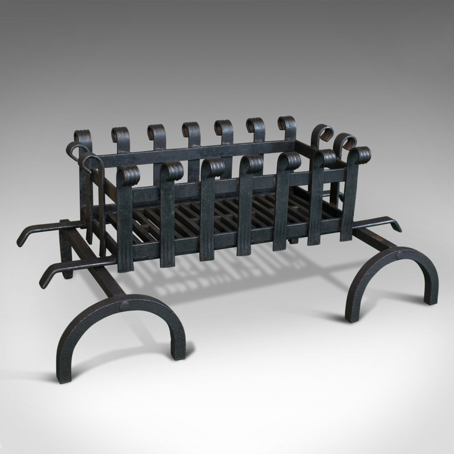 Vintage, Fire Basket, Andirons, English, Iron, 20th Century