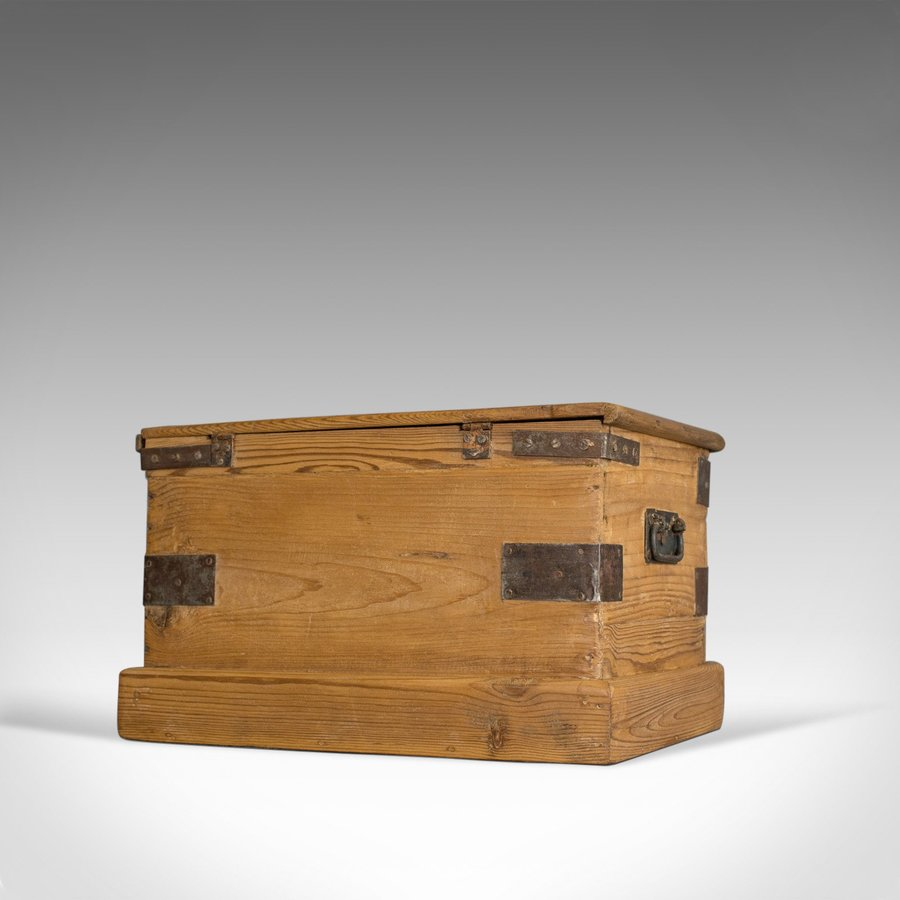 Antique Small Antique Carriage Chest, Victorian, Metal Bound, Pine Trunk, Circa 1870