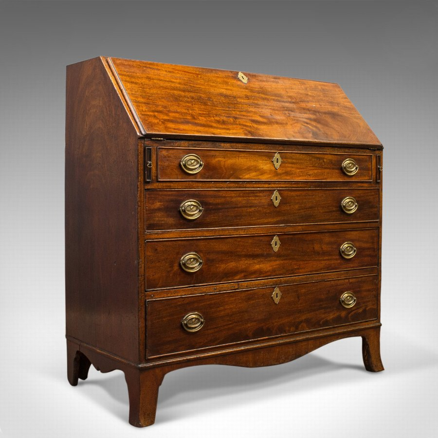 Antique Bureau, English, Georgian, Desk, Mahogany, Late 18th Century, Circa 1790