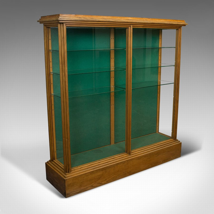 Antique Shop Display Cabinet, English, Victorian, Ash, Fitting, Circa 1900