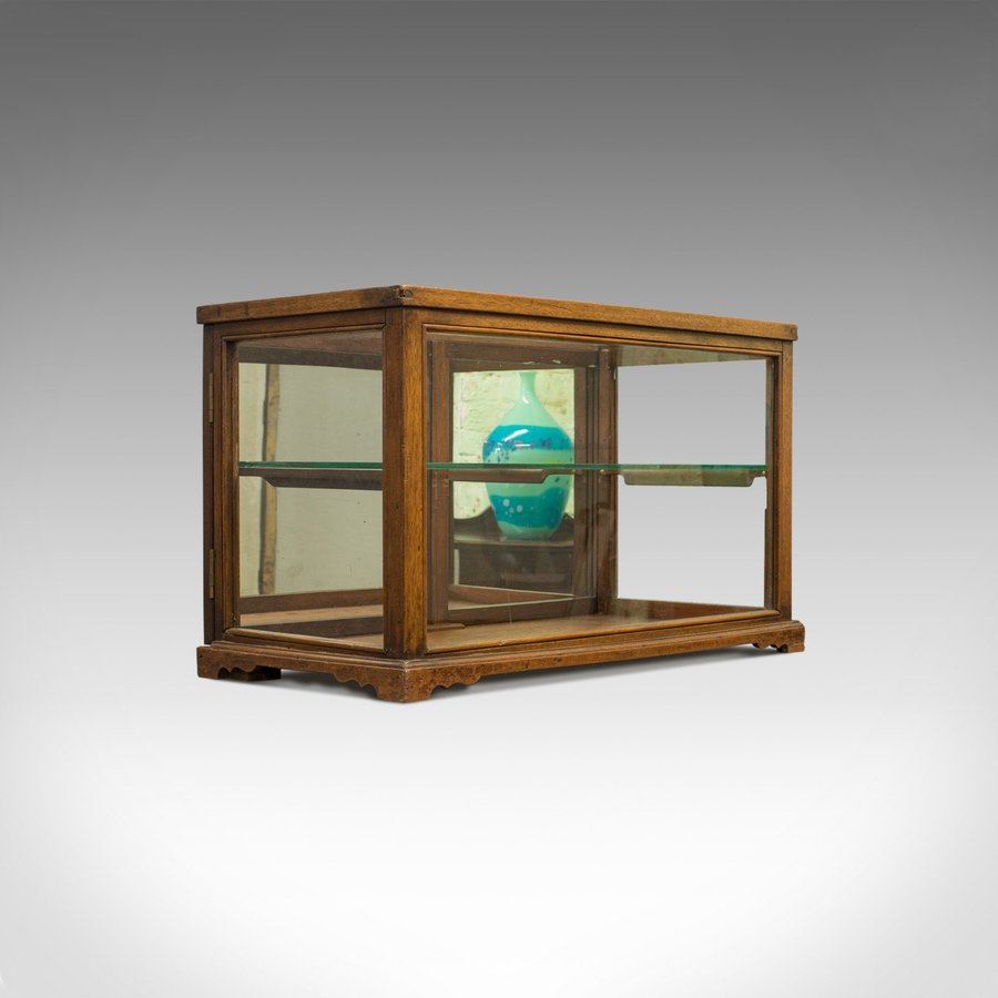 Antique Display Cabinet, Shop Fitting, English, Victorian, Oak Circa 1900