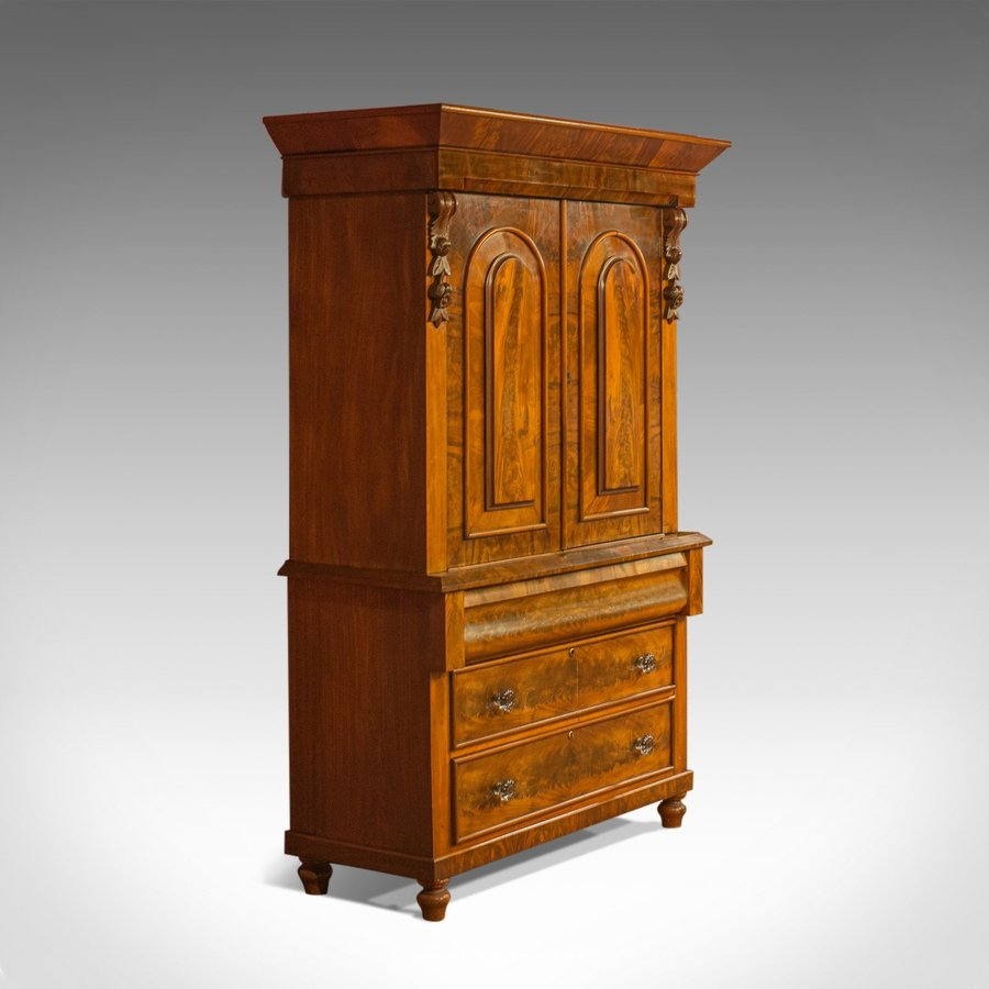 Antique Linen Press, Victorian, Housekeeper's Cupboard, Flame Mahogany, c.1860