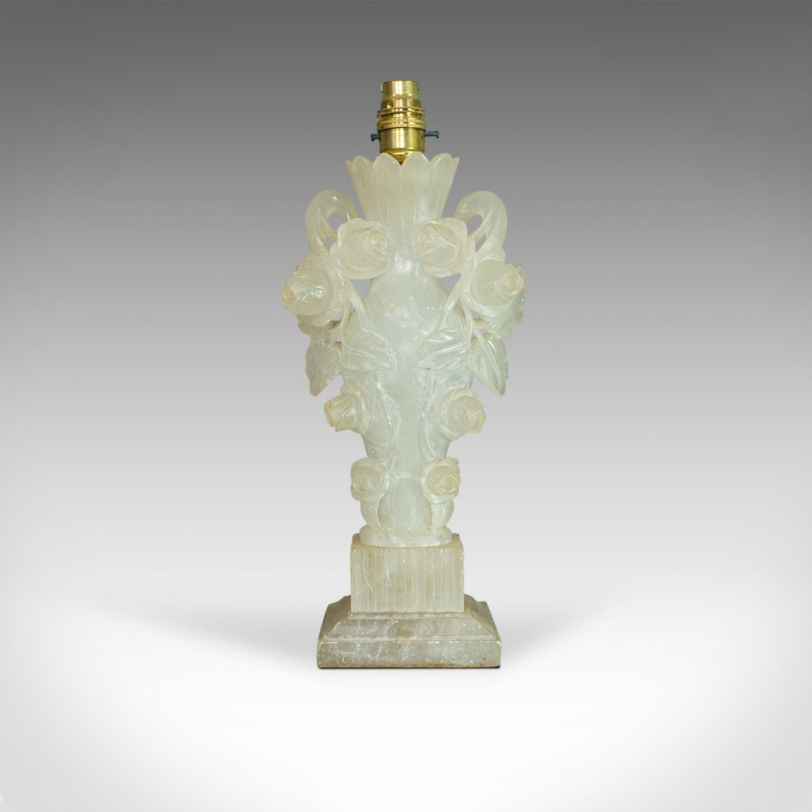 Vintage Art Deco Table Lamp, Italian, Alabaster, Decorative, Circa 1930