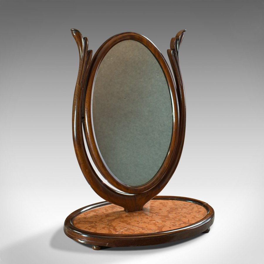Antique Platform Mirror, Regency, Mahogany, Vanity, Toilet, Swing, Circa 1830