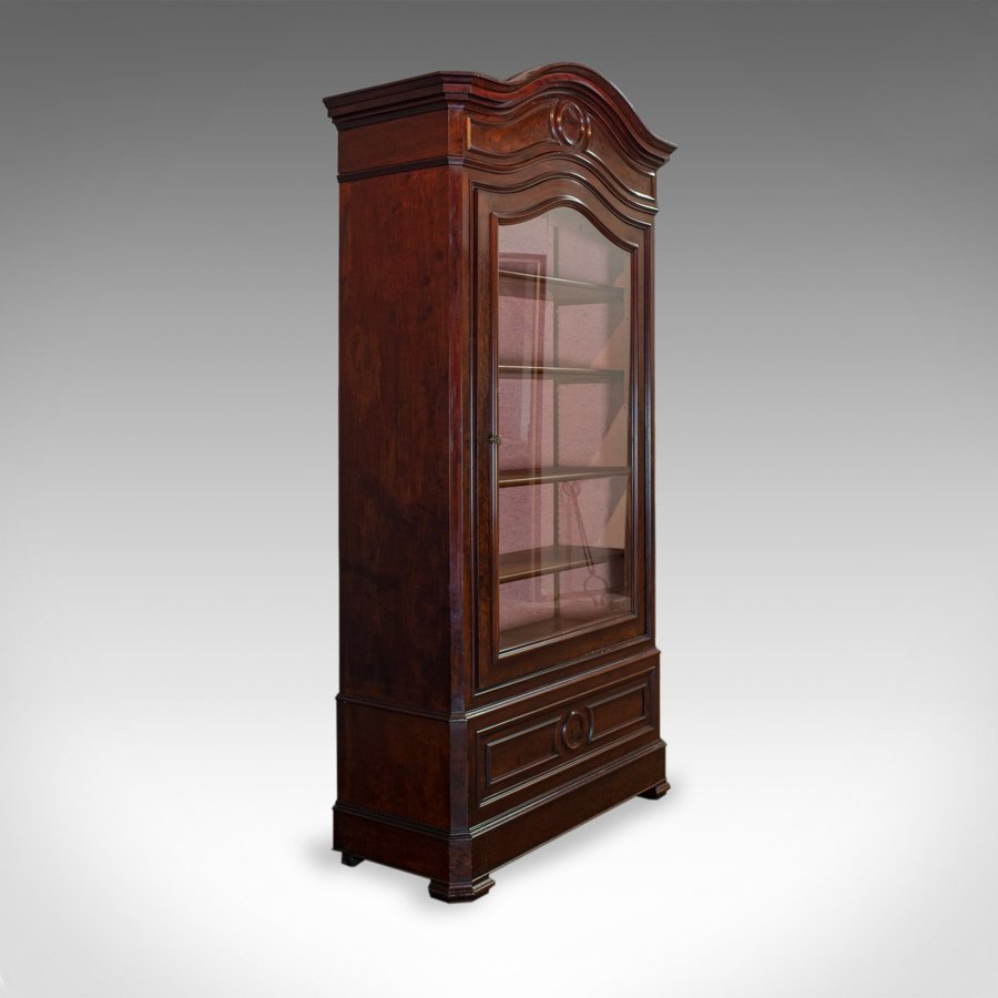 Antique Display Cabinet, Victorian, Flame Mahogany Vitrine, Circa 1850