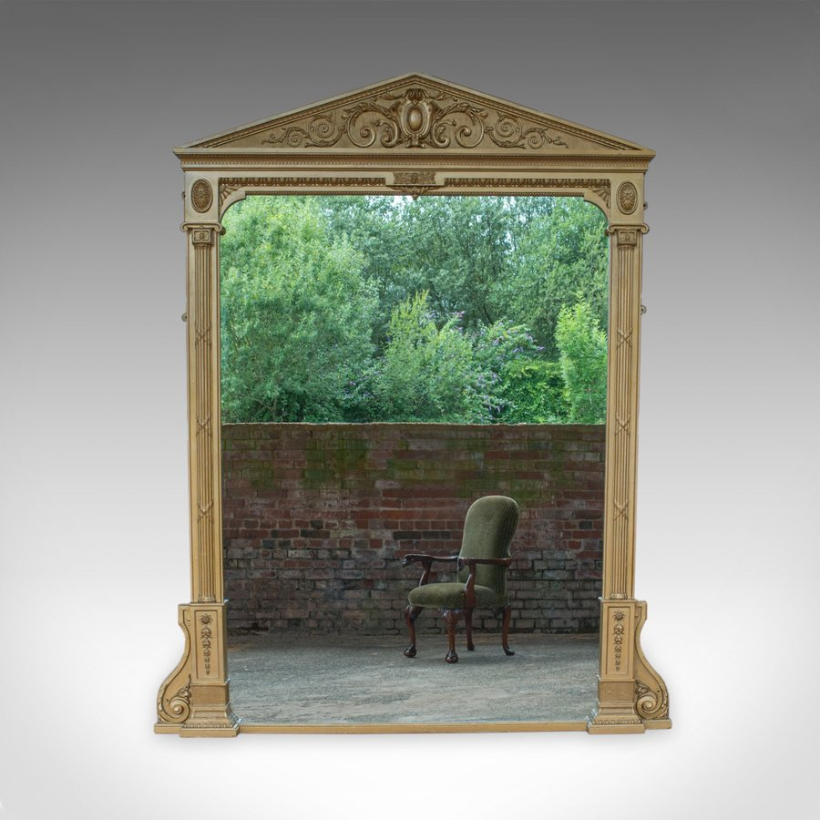 "Very Large Antique Overmantel Mirror 230cm x 189.5cm (7'5""x6'2"") Classical c1850"
