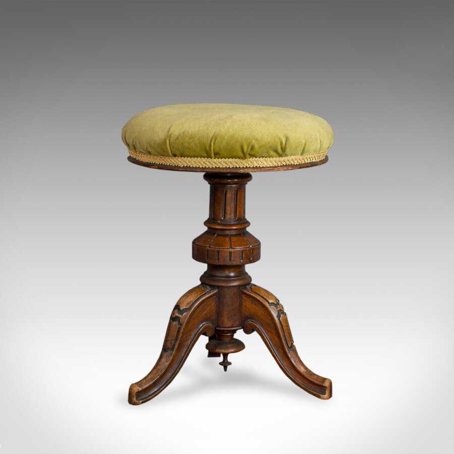 Antique Adjustable Piano Stool, English, Victorian, Walnut, Music, Seat c.1870