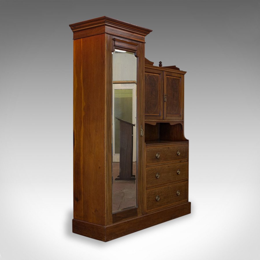 Antique Mirrored Wardrobe, English, Edwardian, Mahogany, Compactum, Circa 1910