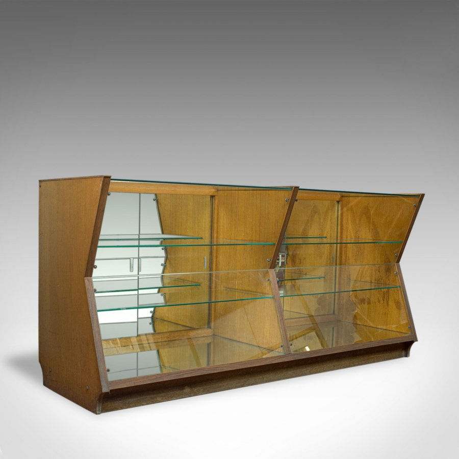 Large Vintage Display Cabinet, Glass, Oak, Retail, Shop-Fitting, Art Deco c.1930
