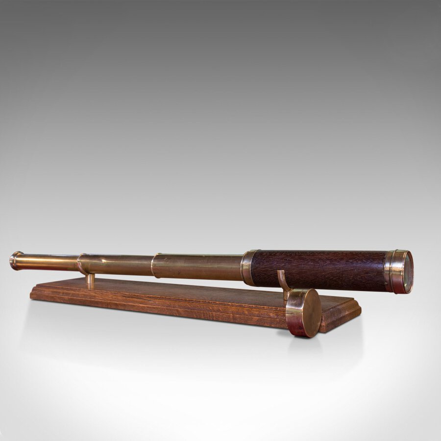 Antique Telescope, English, 3 Draw Refractor, Silberrad Aldgate, 19th Century