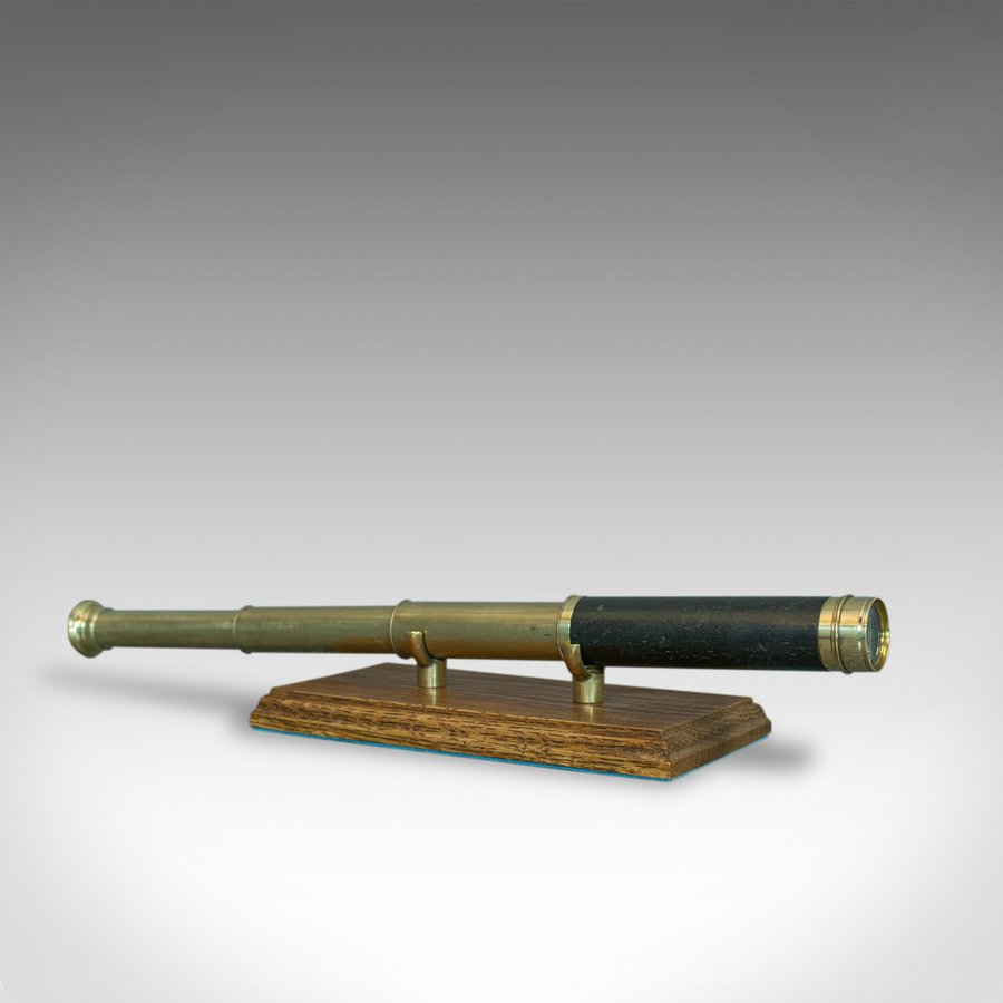 Antique Pocket Telescope, Three Draw, Refractor, English, Victorian, Circa 1870