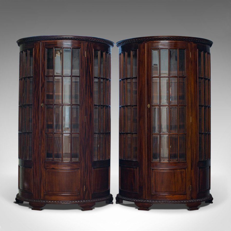 Vintage Pair of Demi-Lune Display Cabinets, Mahogany, Bow-Front, Glazed, C20th