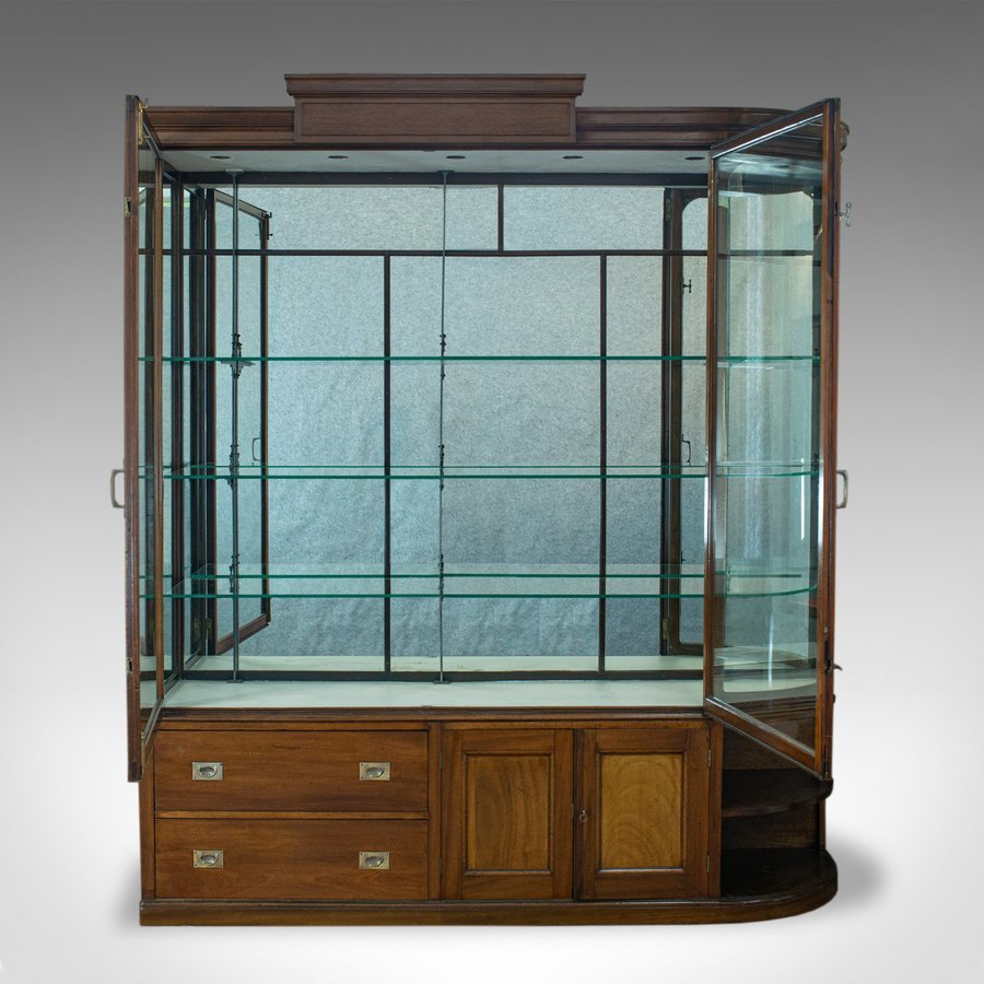 Antique Large Antique Display Cabinet, Mahogany, Glass, Retail Showcase, Victorian